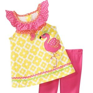 Baby Girls Flamingo Top Capris 18 Months NEW